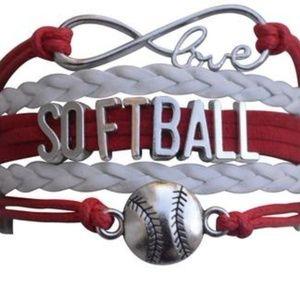 Girls Softball Bracelet - Red & White